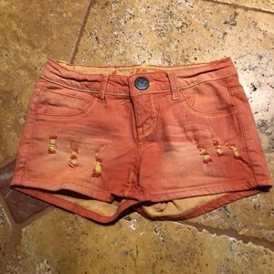Ripped Orange Denim Shorts